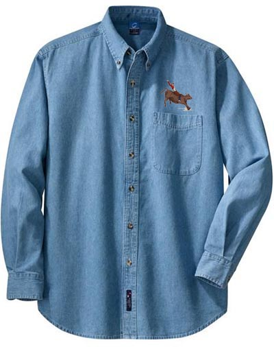 Custom embroidery denim shirts embroidery origami for Personalised embroidered polo shirts