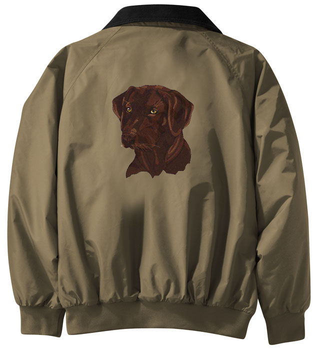 Chocolate labrador retriever embroidered jacket