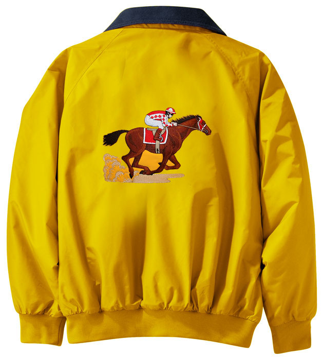 Horse racing embroidered jacket back sizes xs